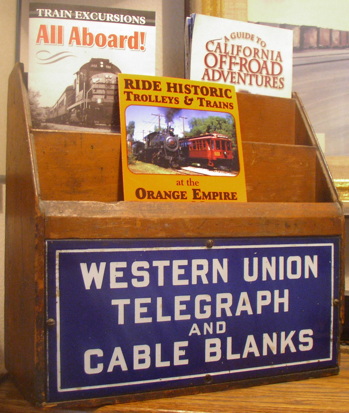 Western Union Telegraph Wood Forms Box with enamel sign