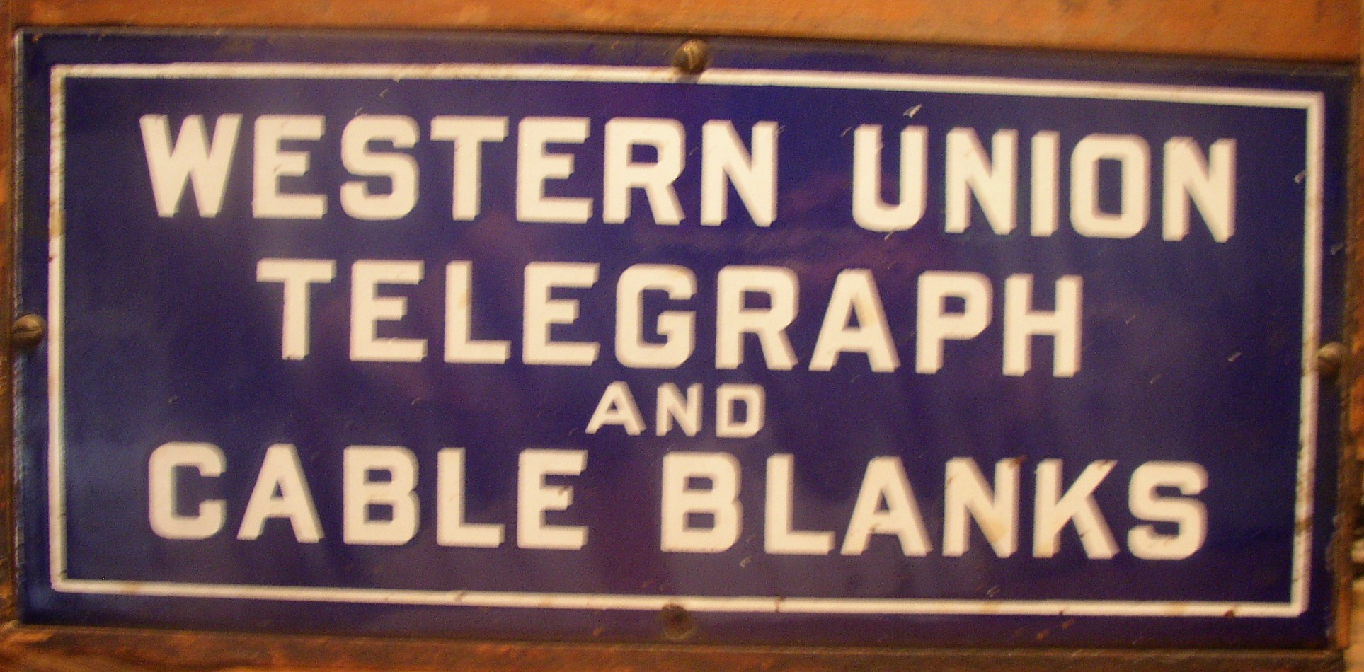 Western Union Telegraph Forms Box with enamel sign