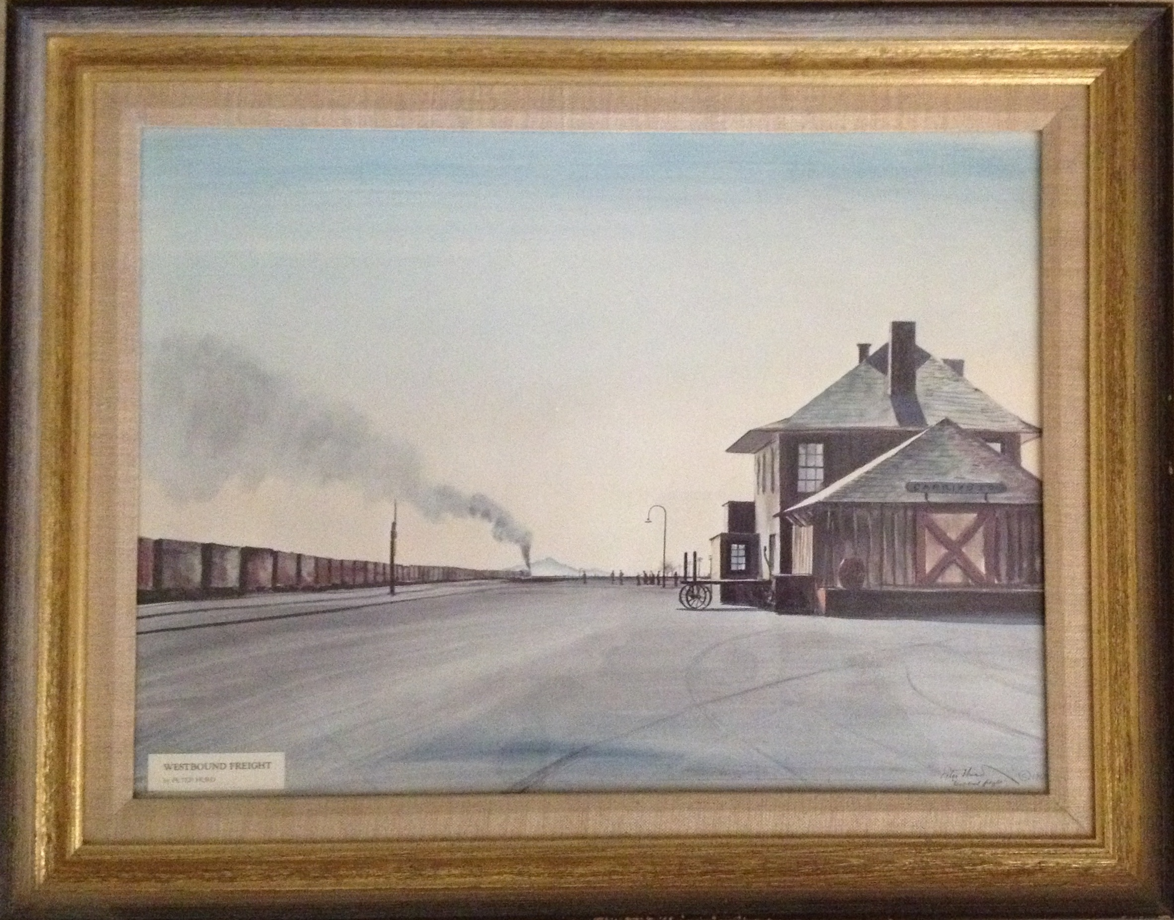 'Westbound Freight,' painting of railroad depot at Carrizozo, NM, by Peter Hurd