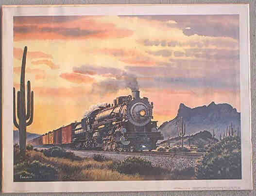 Print by Howard Fogg of Freight Train passing Picacho Peak Arizona